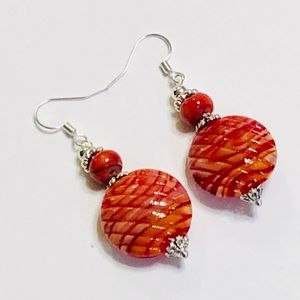 Red Orange Yellow Lampwork & Jasper Earrings